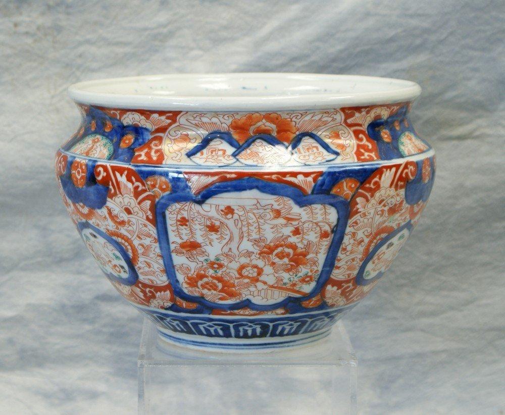 2238: Japanese Imari Porcelain Cache Pot, alternating p