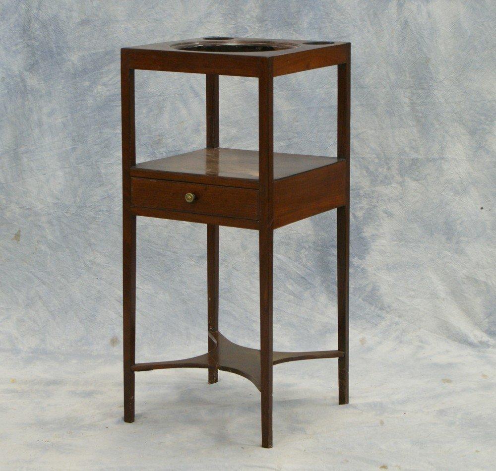 "2239: Mahogany Georgian Basin Stand with drawer, 14"" sq"