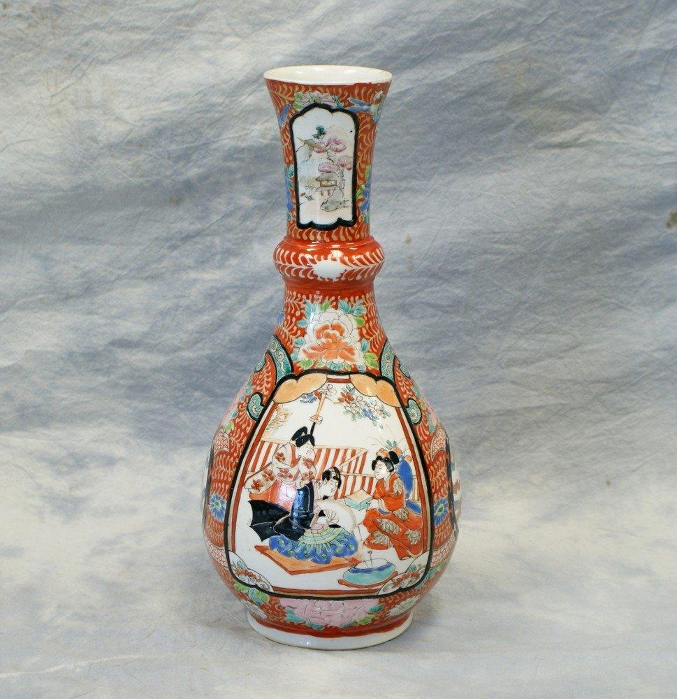 2244: Japanese Arita Porcelain vase, alternating panels