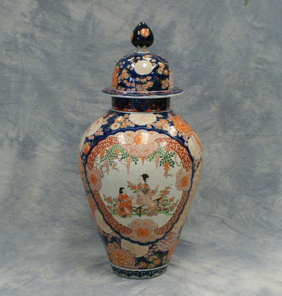 2247: Large Japanese Imari Porcelain covered temple jar