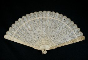 Chinese Export Carved Ivory Brise Fan. The Very F