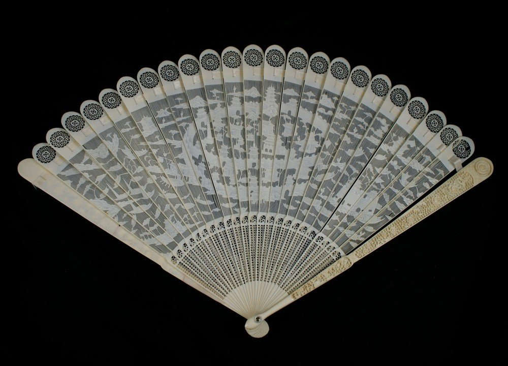 2142: Important Chinese Export Caved Ivory Brise Fan de