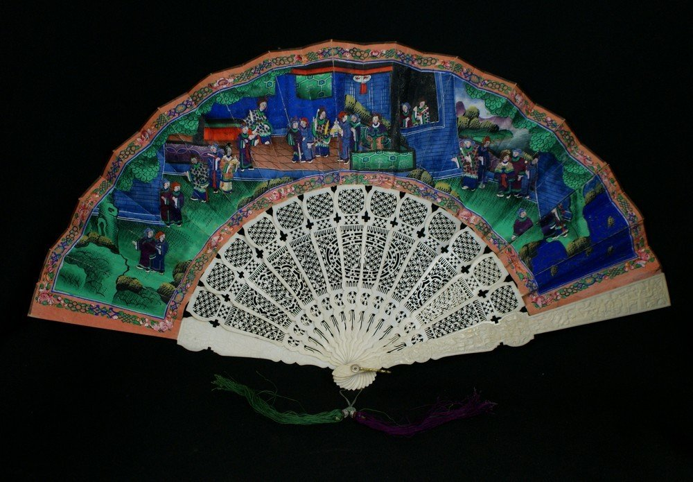 2144: Chinese Export Carved Ivory Fan with double sided
