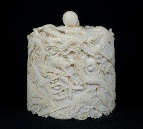 Japanese Carved Ivory Dragon Box, The Dragons Eye