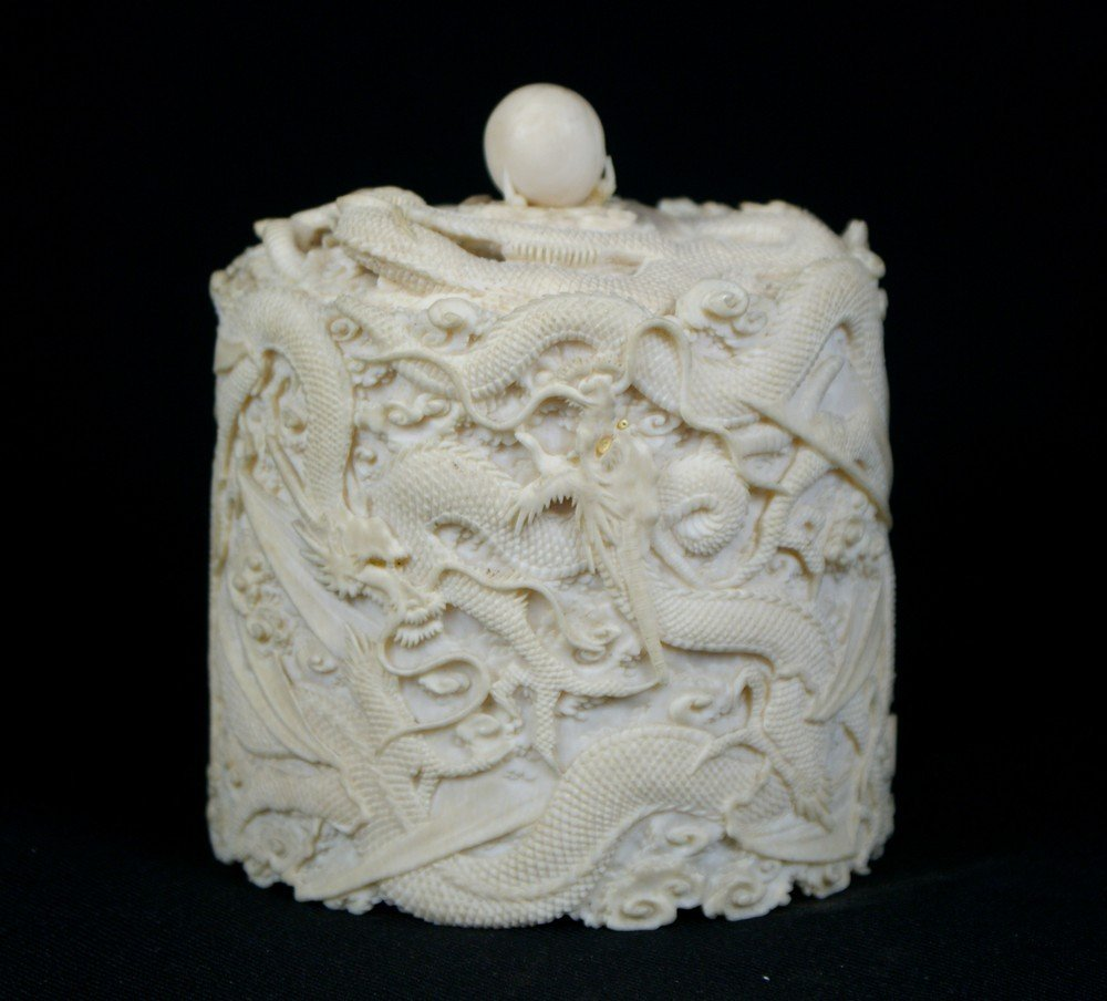 2145: Japanese Carved Ivory Dragon Box, the dragons eye