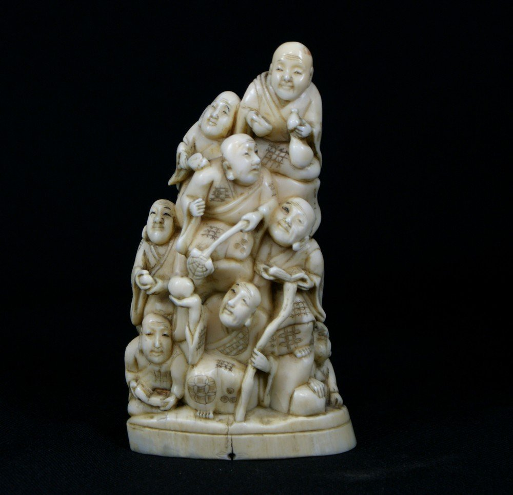 2147: Japanese Carved Ivory multi-figural group, circa