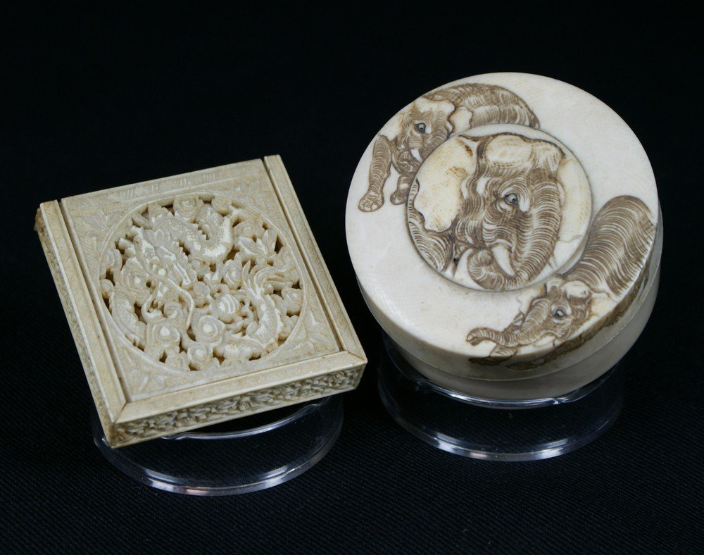 2148: (2) Ivory Boxes, Japanese circular box with carve