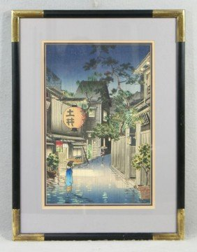 Japanese Print Of Night Scene With Rain, C 1900,