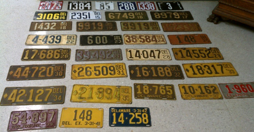 2234: Collection of 90 license plates, (1) 1907 Pennsyl