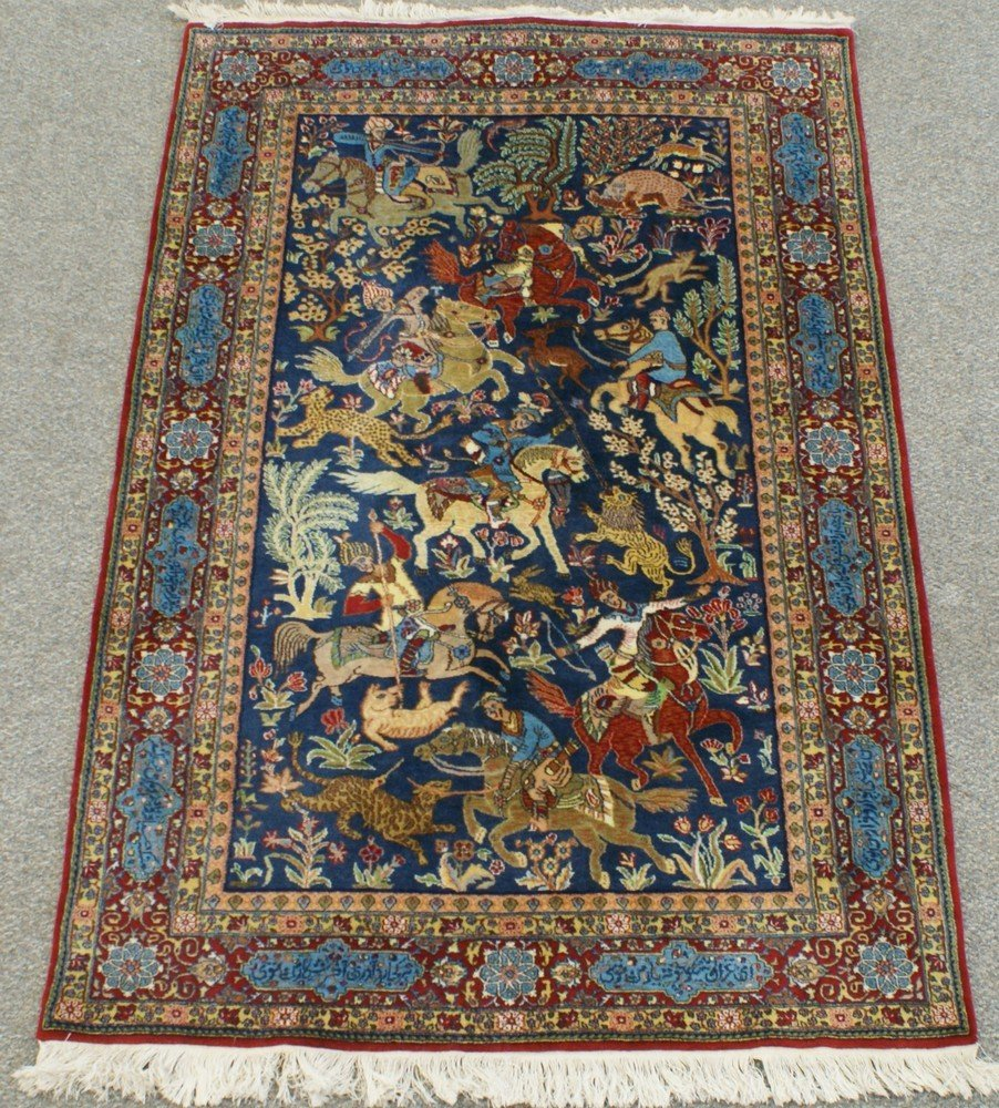 "2003: 4' 6"" x 6' 11"" Tabriz hunt scene prayer rug"