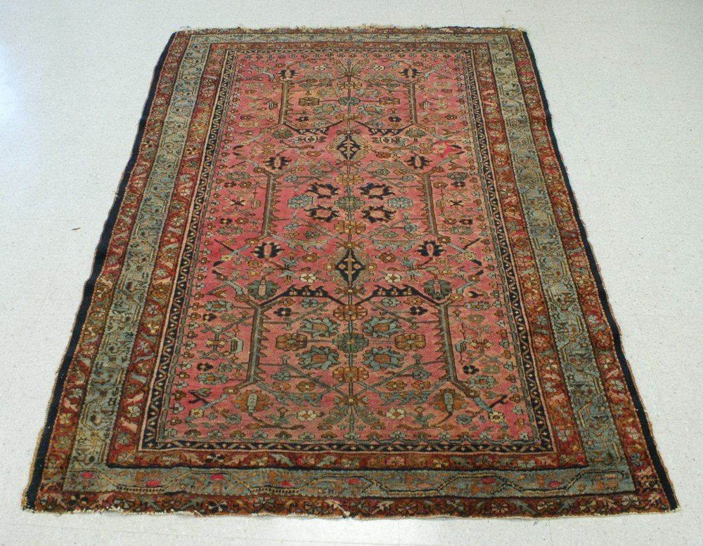 "2007: 4' 8 "" x 6' 7"" Hamadan rug (some loss at ends)"
