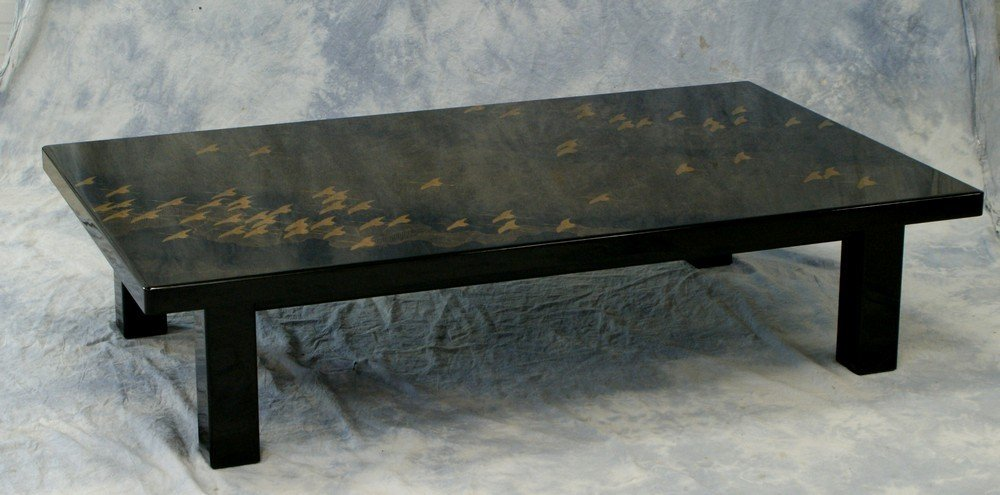 2116 Black Lacquer Japanese Coffee Table Artist Signe