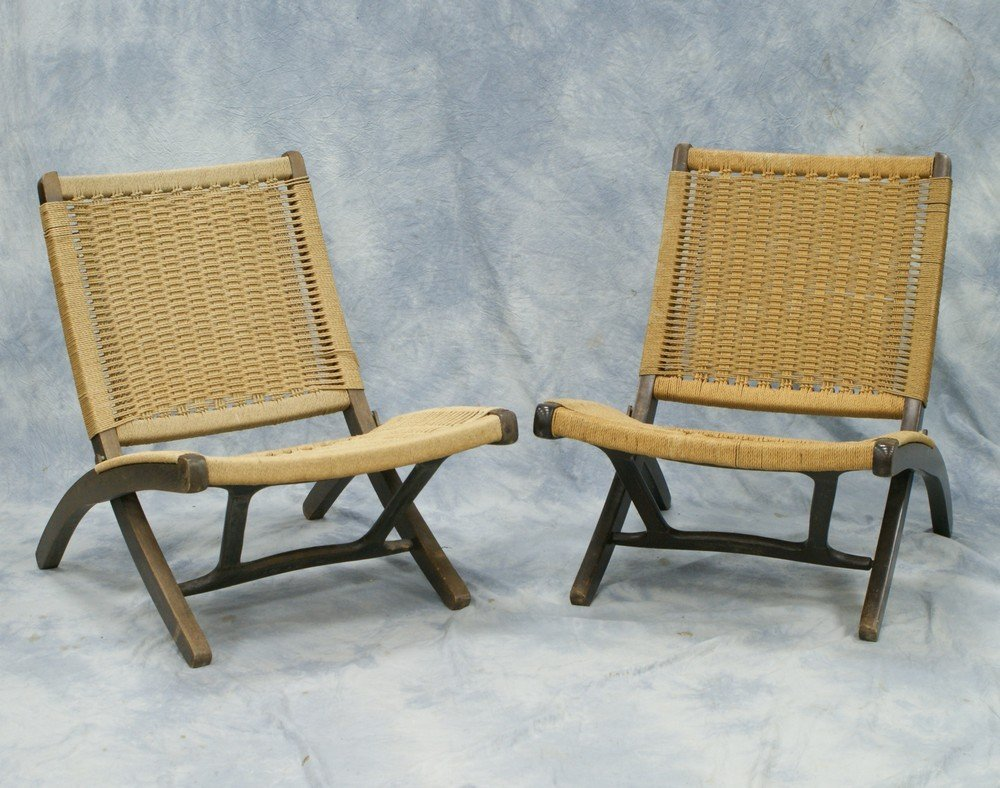 2137:Pr Mid Century Modern Style folding chairs, after