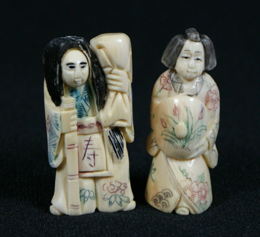 2137J: (2) carved ivory netsuke, one with revolving hea