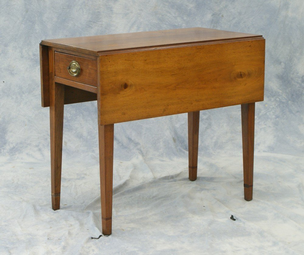 2242: Walnut Hepplewhite Pembroke table with drawer, or