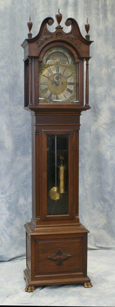 2243: Mahogany Colonial Revival tall case clock, Elliot