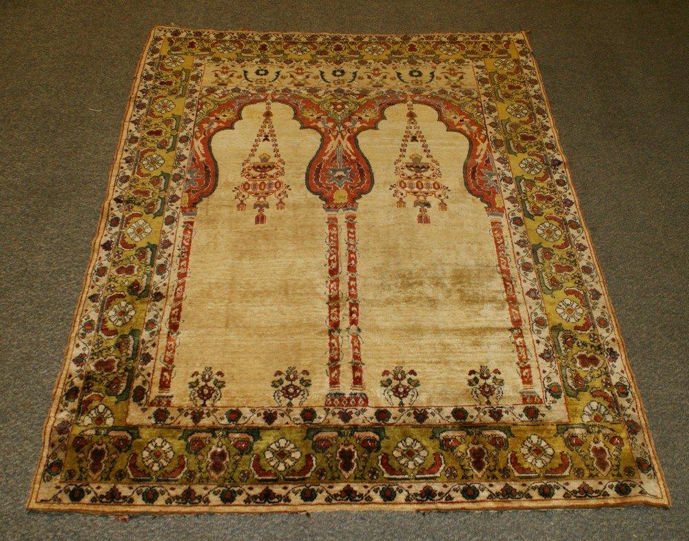 "2015: 50"" x 67"" silk Tabriz double chandelier prayer ru"