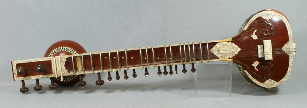 2058: Carved and inlaid sitar, labeled from the Lahore  - 2