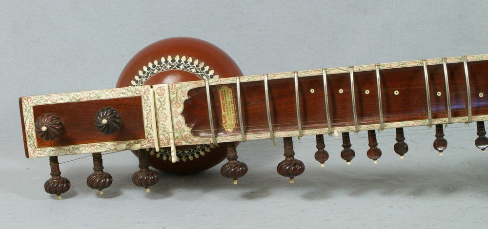 2058: Carved and inlaid sitar, labeled from the Lahore  - 3
