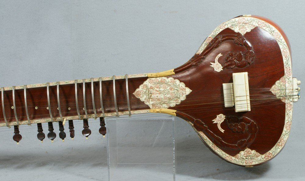 2058: Carved and inlaid sitar, labeled from the Lahore  - 4