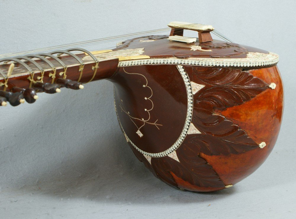 2058: Carved and inlaid sitar, labeled from the Lahore  - 5