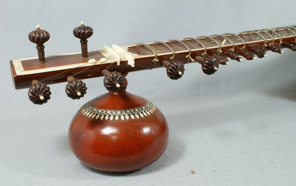 2058: Carved and inlaid sitar, labeled from the Lahore  - 6