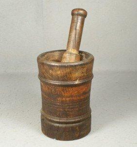 "Burlwood Mortar & Pestle, 7 1/2"" H, 5 1/4"" W"
