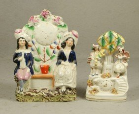 2 Staffordshire Pottery Figurines, Each A Couple