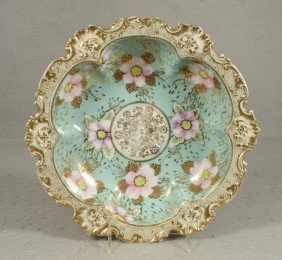 Round Scalloped Nippon Porcelain Bowl, Floral De