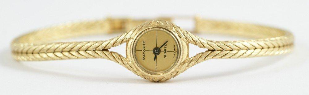 "2093D: 14K YG Movado ladies wrist watch, 1/2"" d, 6 3/4"" - 3"