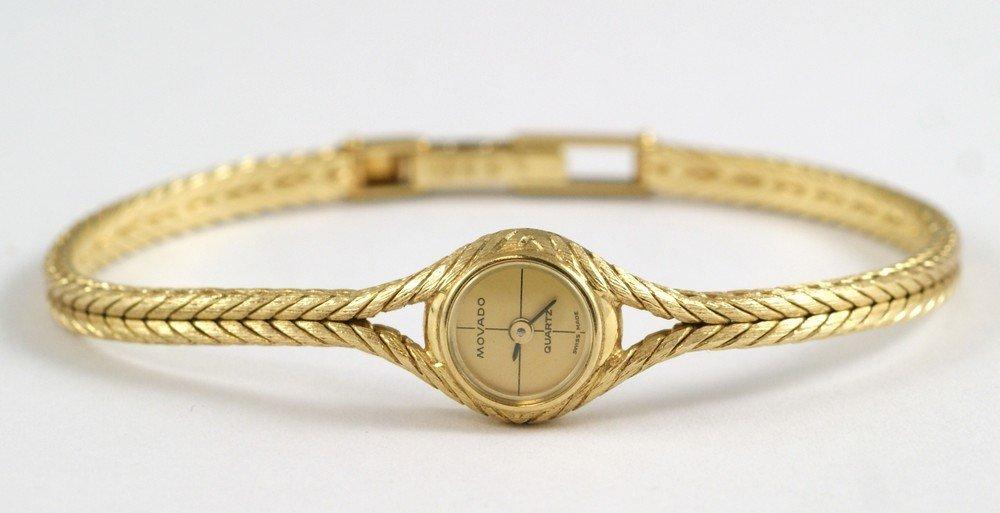 "2093D: 14K YG Movado ladies wrist watch, 1/2"" d, 6 3/4"" - 4"