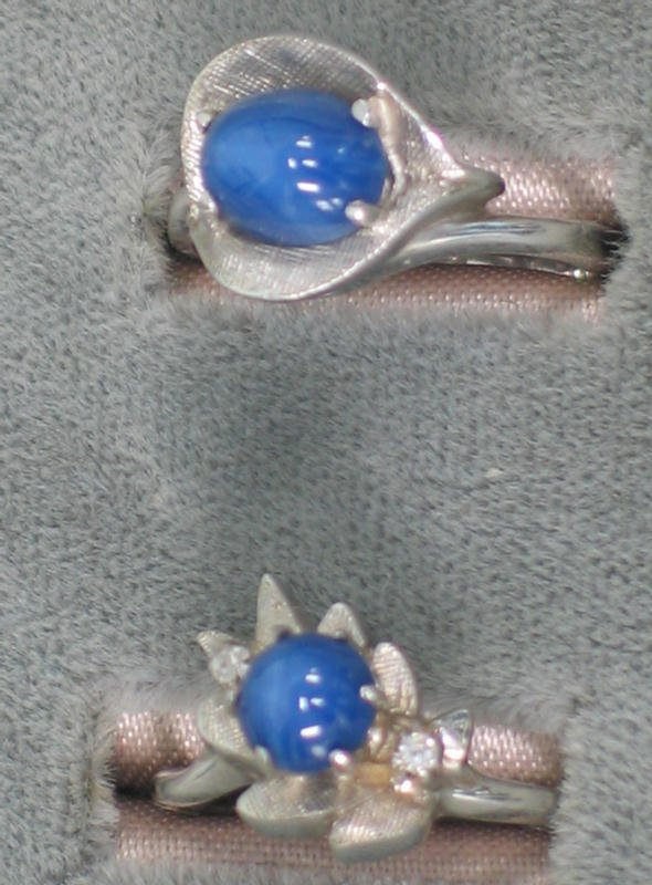 5: Two Linde Star sapphire (syn) rings. Both 14K wg set