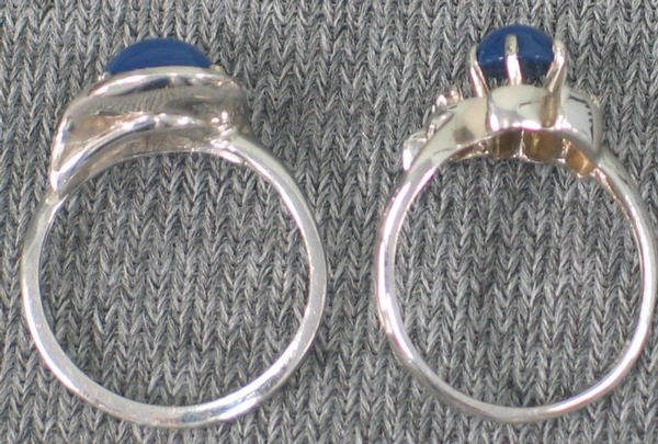 5: Two Linde Star sapphire (syn) rings. Both 14K wg set - 2