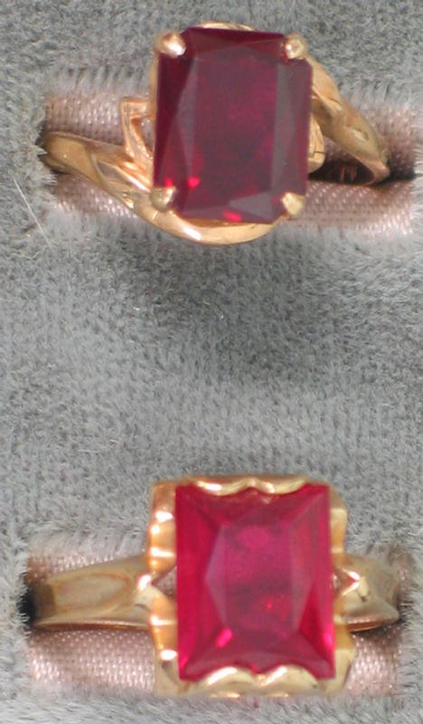 11: Two 10K yg rings with synthetic rubies.  Each with