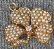 102 Victorian four leaf clover watch pinpendant 14K