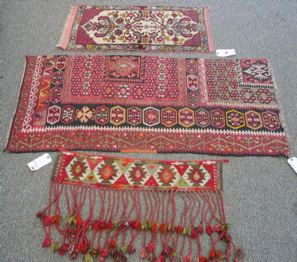203: (2) flat woven tent hangings with a small Turkish