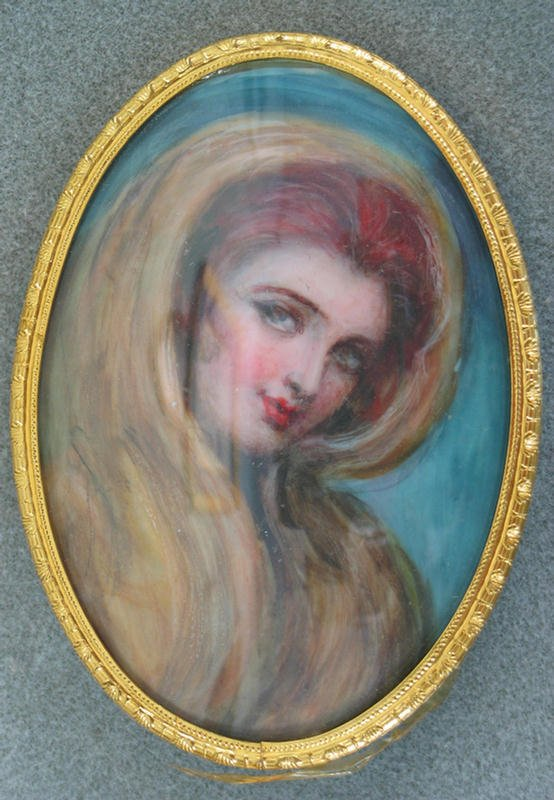 1004: Oval hand painted portrait on ivory, Red Headed W