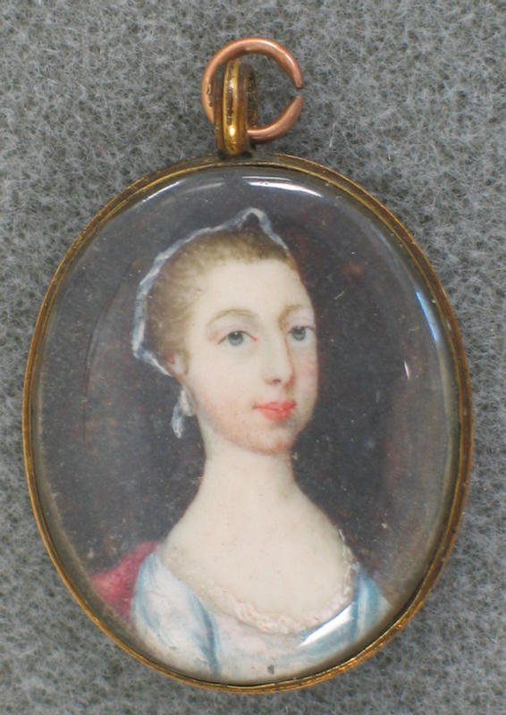 1009: Hand painted portrait on ivory of young woman, mo