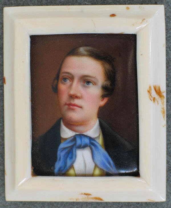 1013: Rectangular hand painted portrait on porcelain, Y