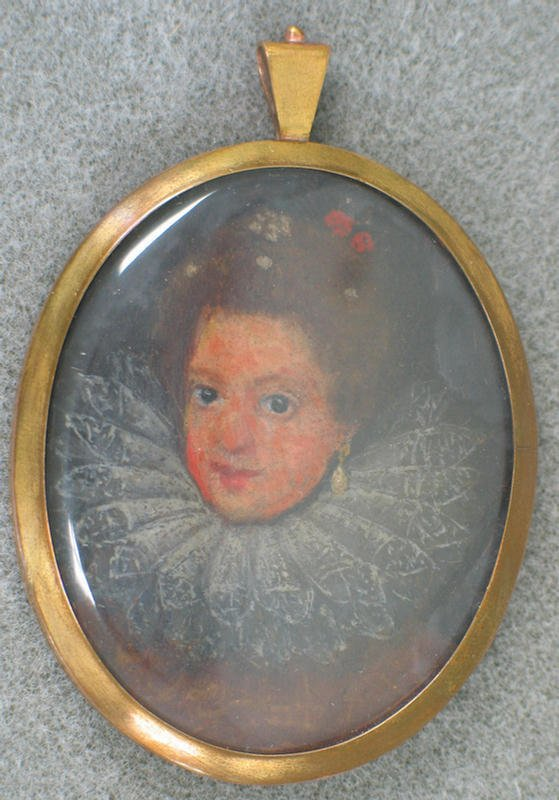 1017: Hand painted portrait on ivory of Elizabethan la