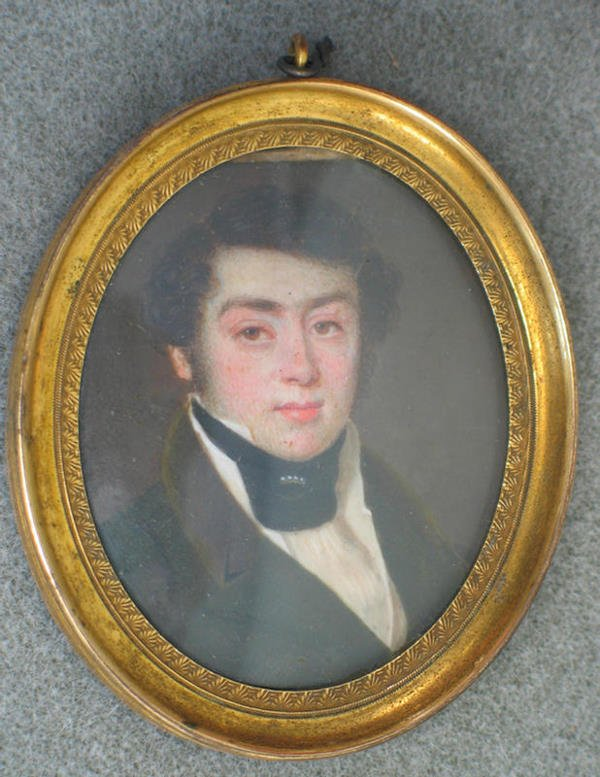 1018: Oval hand painted portrait on ivory of young man