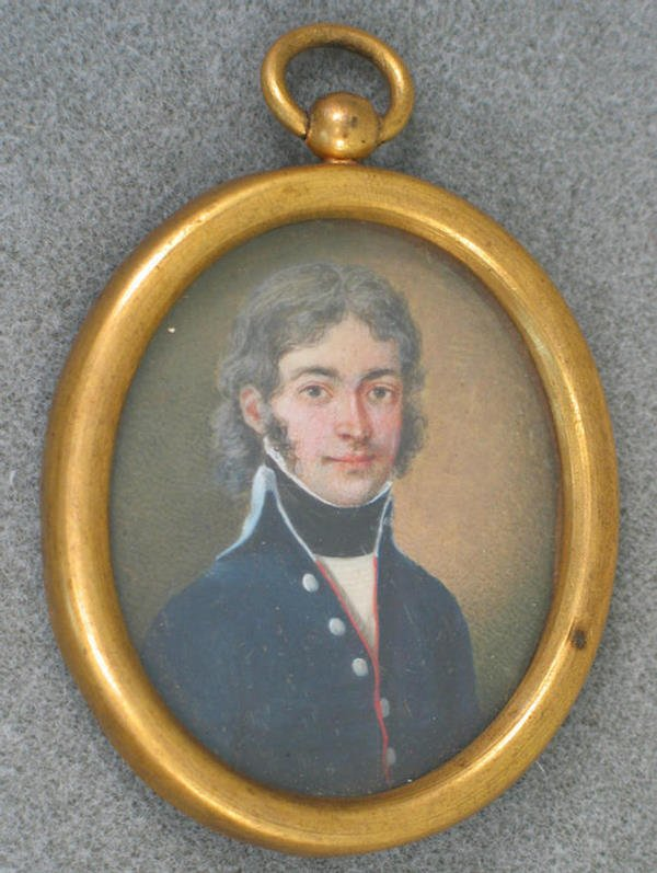 1020: Oval hand painted portrait on ivory, man in high