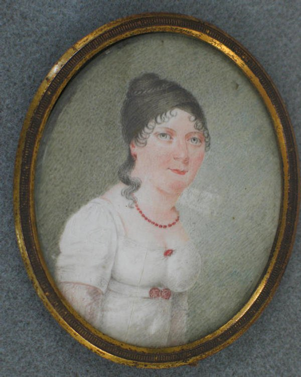 1024: Oval hand painted portrait on ivory of young woma
