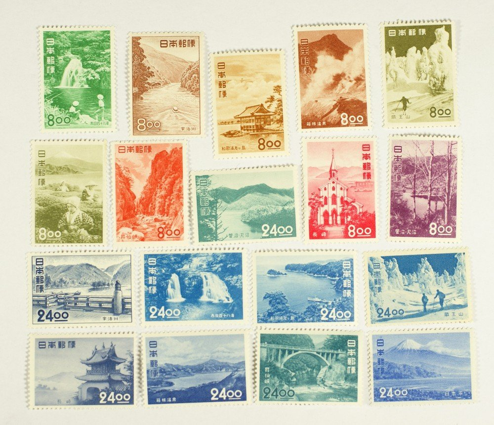 5006: Japan Scott #523-40 complete unused NH/LH parks s