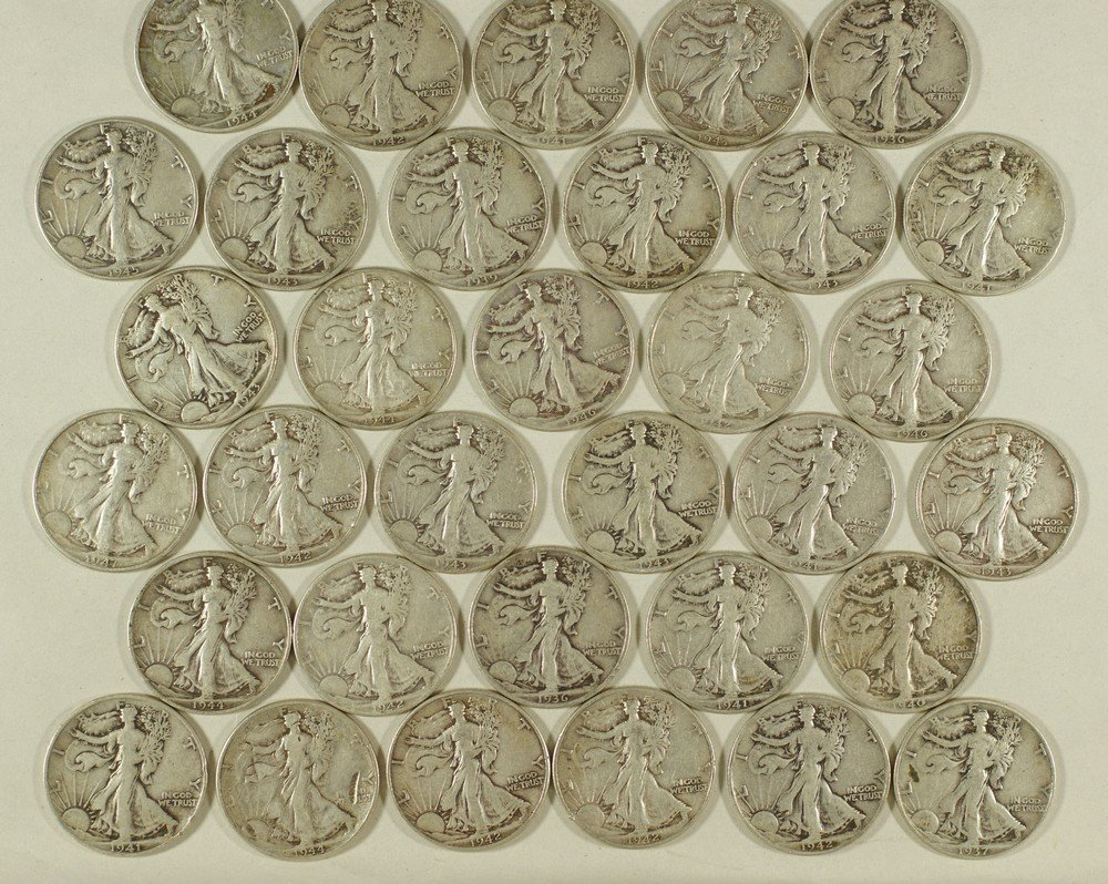 5014: $16.50 face in 90% Silver Walking Liberty halves