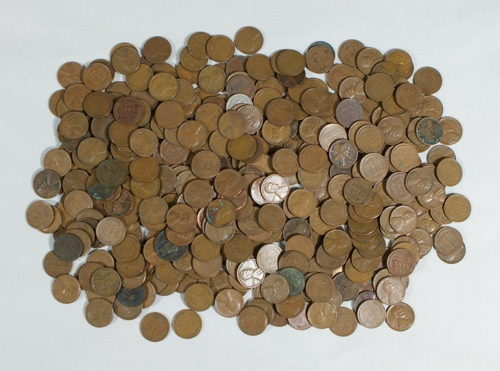 5016: About $4.00 face unsorted wheat cents wide range
