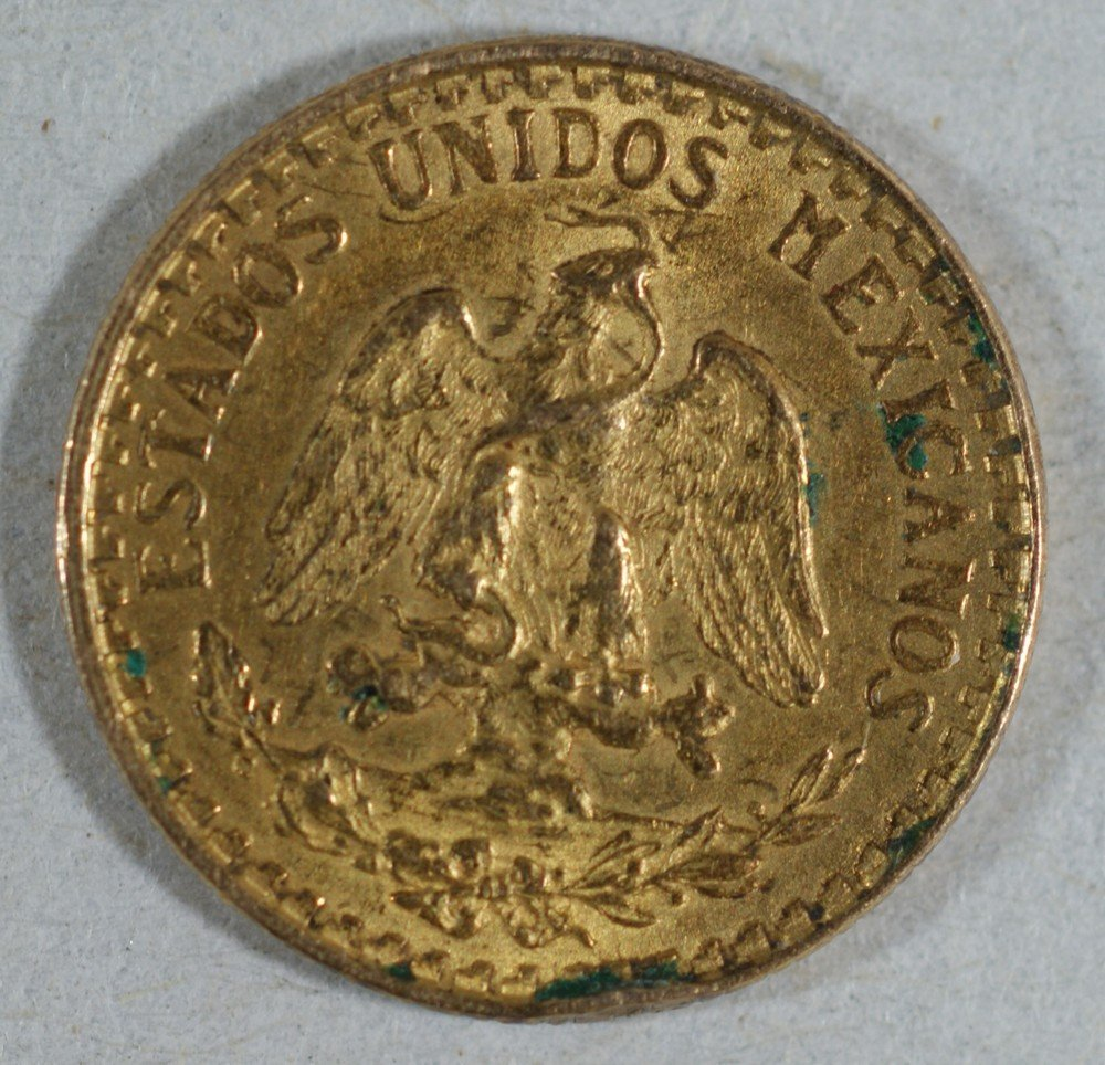 5020: 1920 Mexico 2 Peso gold EF with a tiny rim bump K