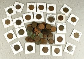 About 77 Large Cents Assorted Dates All Culls, Ho