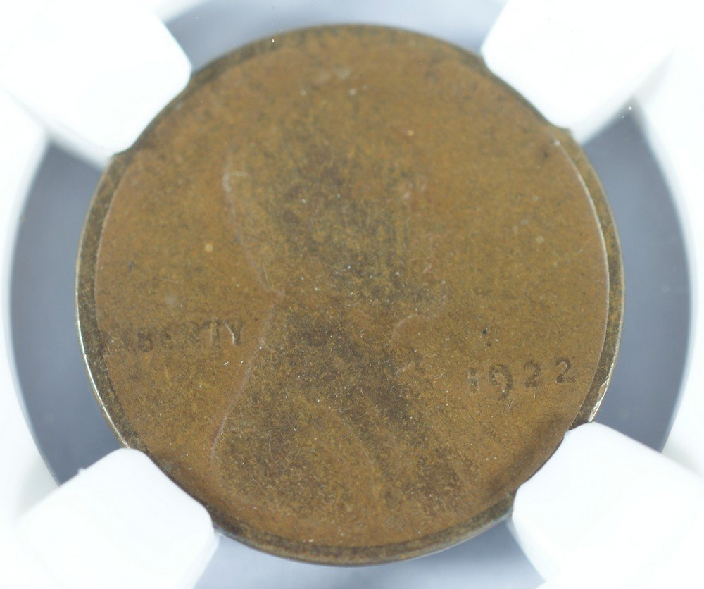 "5064: 1922 plain (no ""D"") Lincoln cent NGC F12 BN stron"