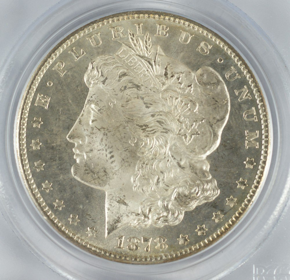 5066: 1878 cc Morgan dollar PC65 MS63 (old blue label)